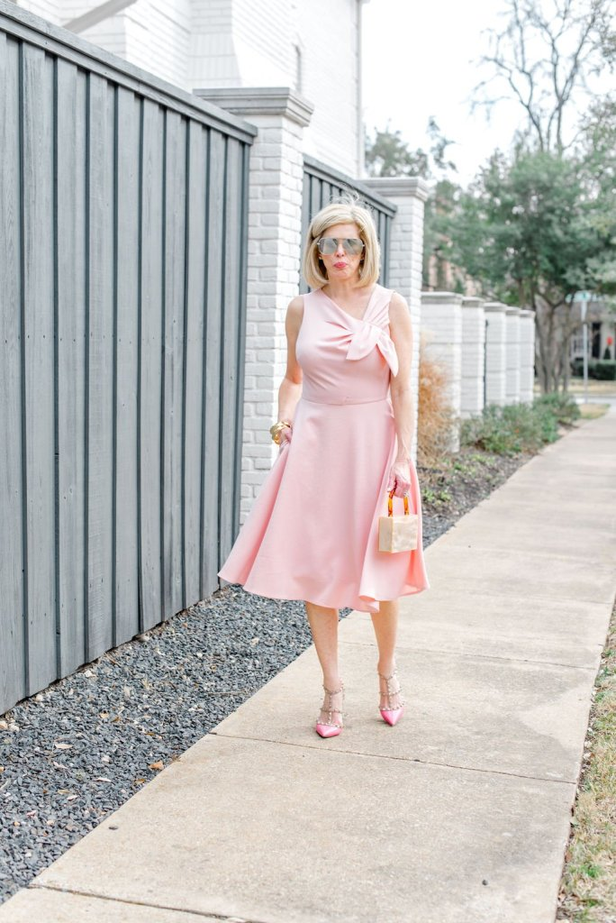 Tanya Foster in a pink one shoulder Gal Meets Glam dress