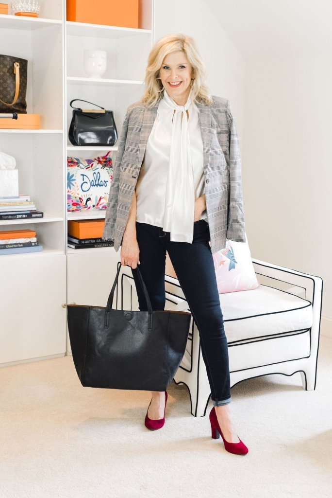 Skinny Jeans 3 Ways with JC Penney | Skinny Jeans 3 Ways by popular Dallas fashion blogger, Tanya Foster: image of a woman standing next to a white lounge chair and wearing JC Penney a.n.a. skinny jeans, JC Penney Worthington Womens Blazer, JC Penney Black Label by Evan-Picone Sleeveless Tie-Neck Blouse, and JC Penney Aerosoles Womens Octagon Pumps Slip-on Round Toe Block Heel.