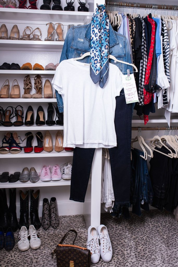Clothes pulled for a photo shoot in a closet