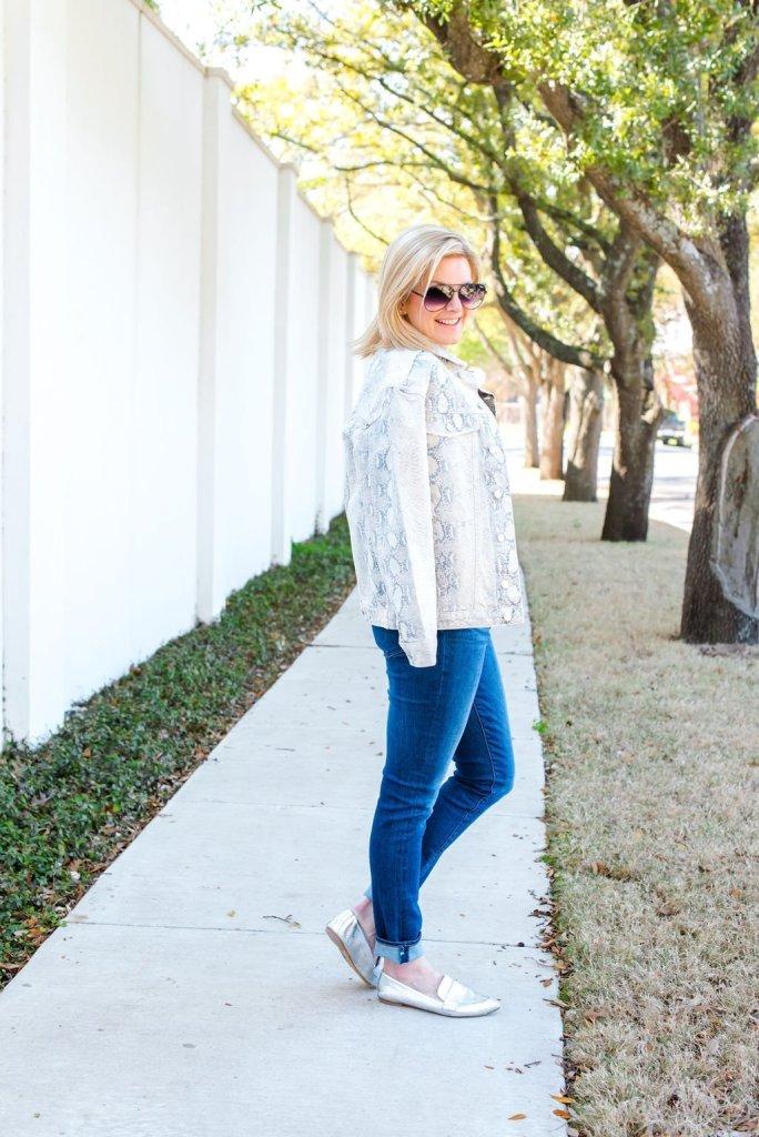Tanya Foster Wearing Snakeskin Trend for Spring