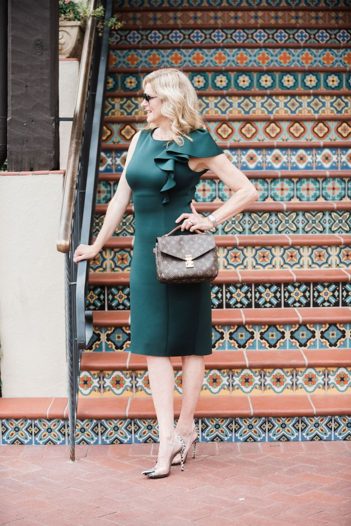 Eliza J dress with ruffle in green