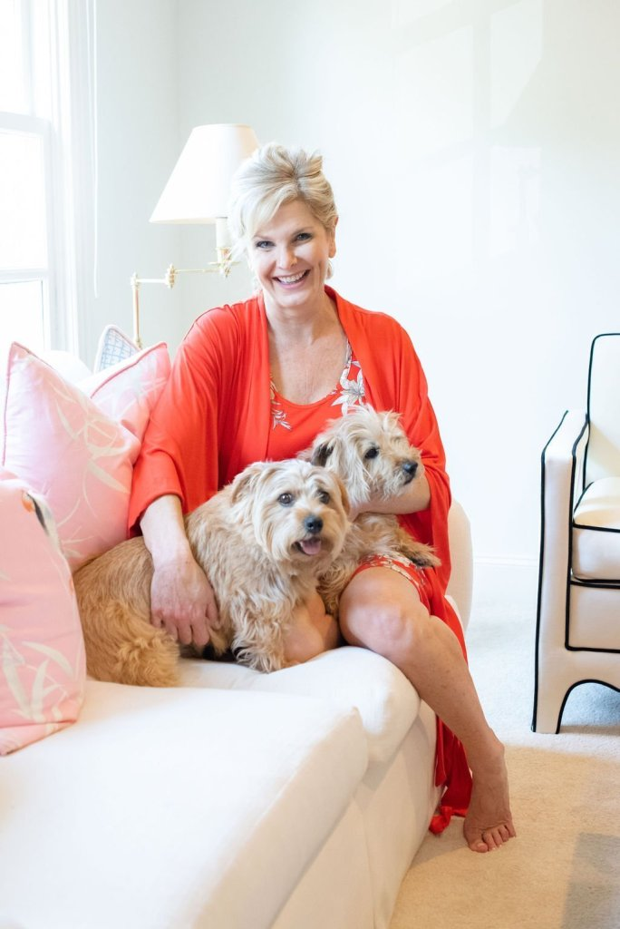 Tanya Foster and her norfolk terriers Sparky and Max