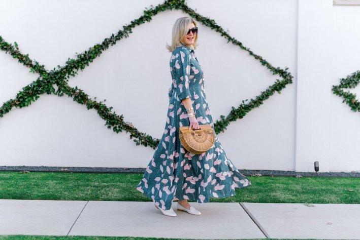 Lafayette 148 New York Women's Siya Silk Maxi Shirt Dress, Cult Gaia bag and white leather slippers