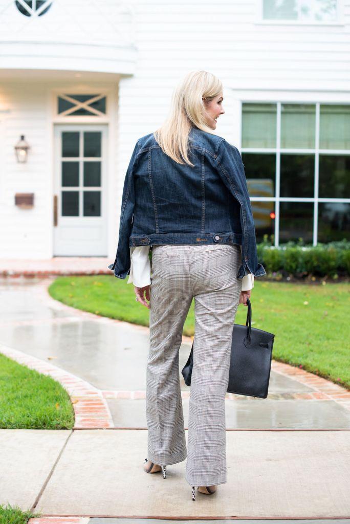 Chico's ruffle blouse, plaid pants with denim jacket