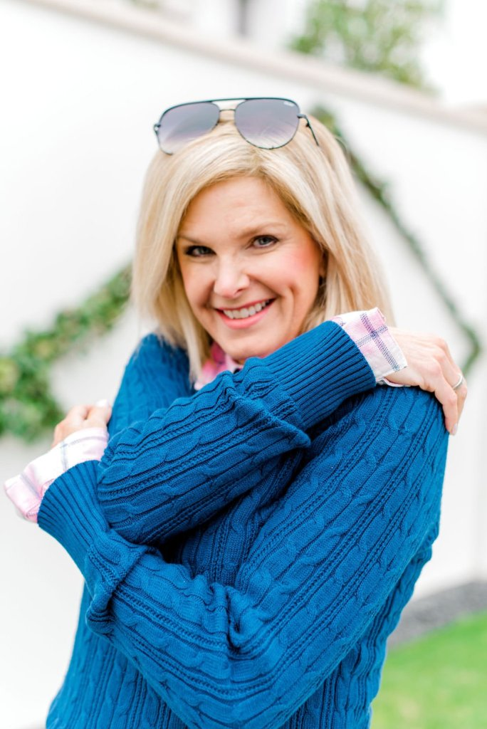 Tanya Foster in a purple sweater