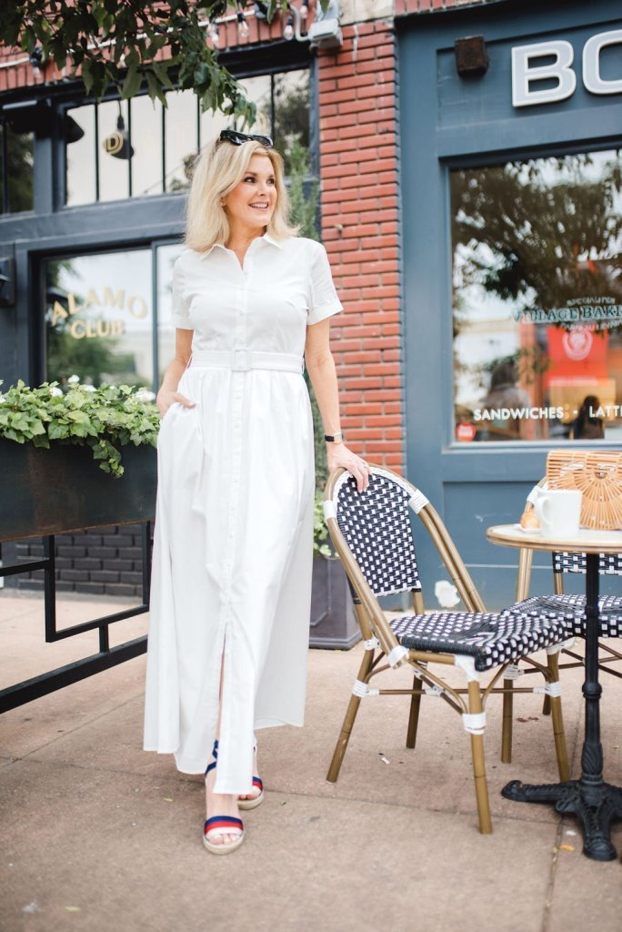 Gal Meets Glam white cotton maxi dress for spring/summer 2019