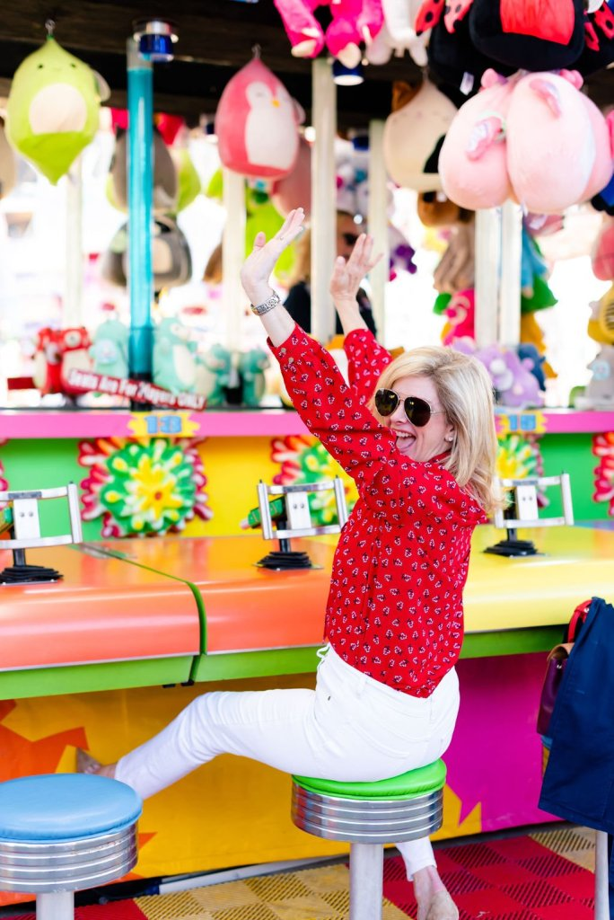Red blouse and white jeans while at the State Fair of Texas
