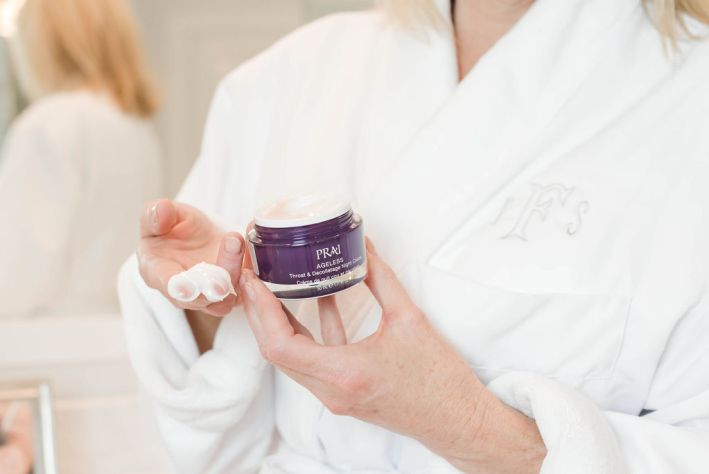 PRAI Ageless Throat and Decolletage Night Creme reviewed by top US beauty blogger, Tanya Foster