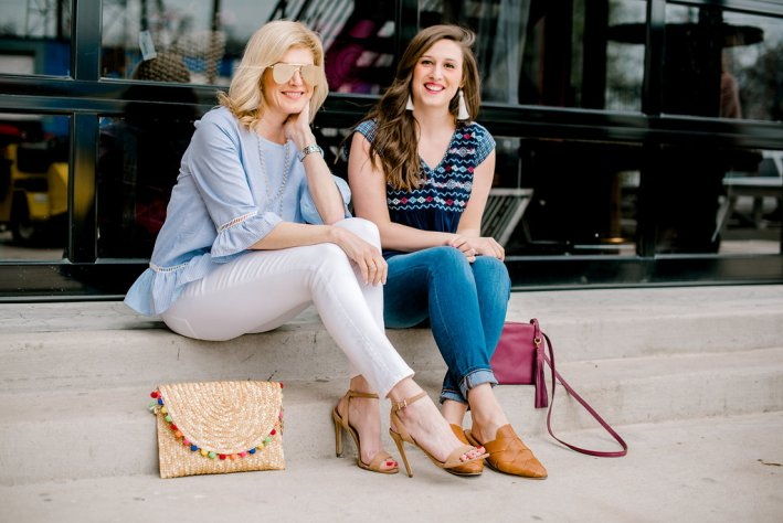 roots boutique, waco, thml, doe and rae, top, white jeans, nude heels, seychelles