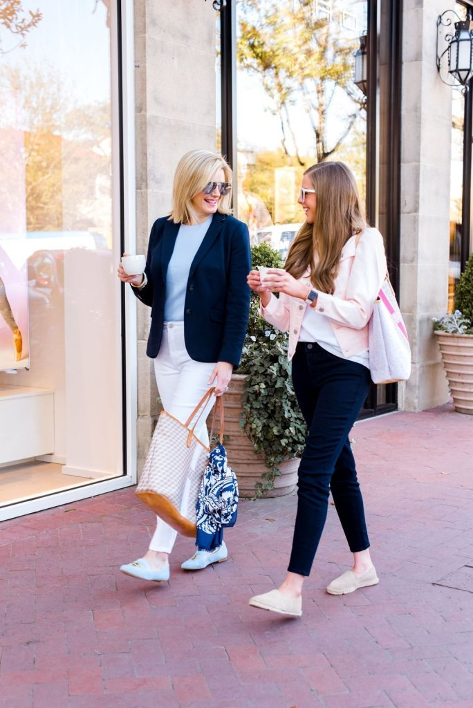 Tanya Foster's assistant Ramsey Pittman is introduced on TanyaFoster.com. Both are wearing spring 2019 fashion from Talbots and tote bags from Barrington