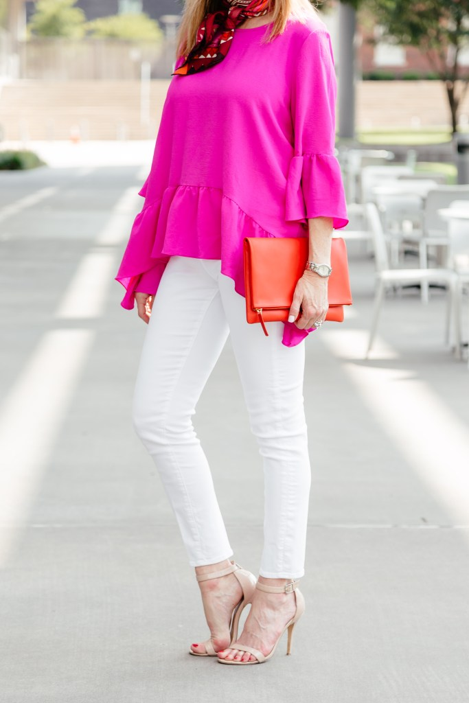 Add a bright pink Gibson shirt to white jeans for a perfect summer look. Nordstrom