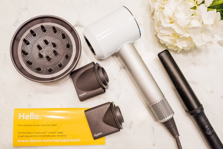 Tips and tricks to help style your hair at home , Dyson hair dryer, dpHUE oil
