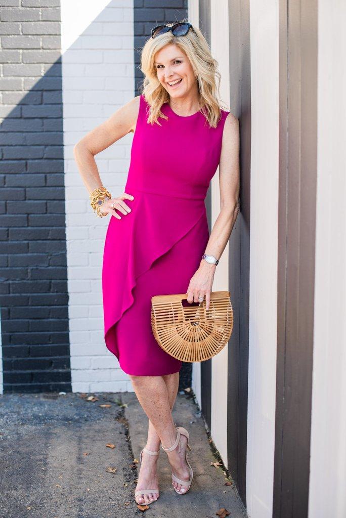 Eliza J pink dress, nude sandals and Cult Gaia bag