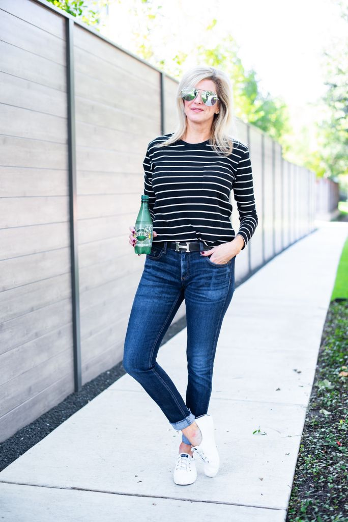Casual look of black and white stripe shirt , jeans and Sperry shoes