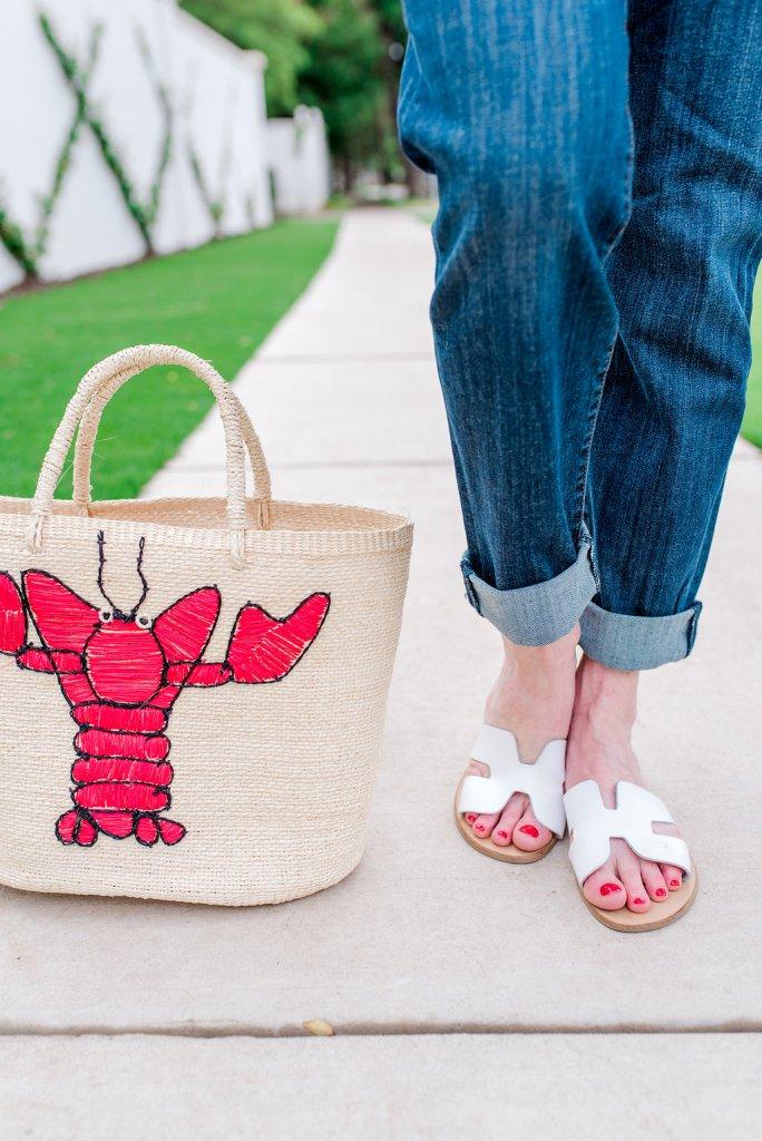 Shicato straw bag with lobster, Kut denim, BB Dakota cold shoulder top