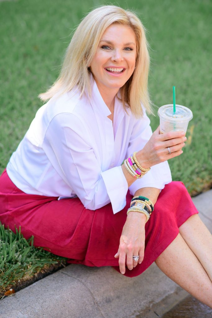 Tanya Foster wearing allie+bess bracelets in chico's dress and button up shirt