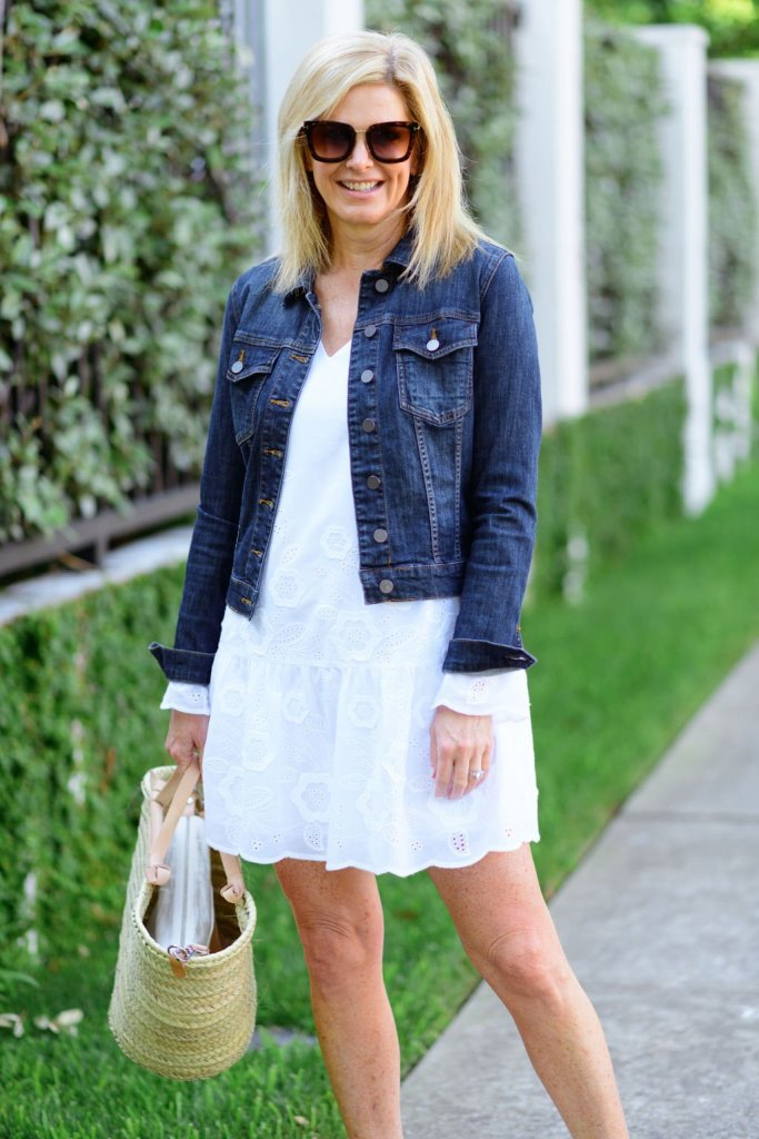 Tanya Foster wearing sail to sable white dress with jean jacket