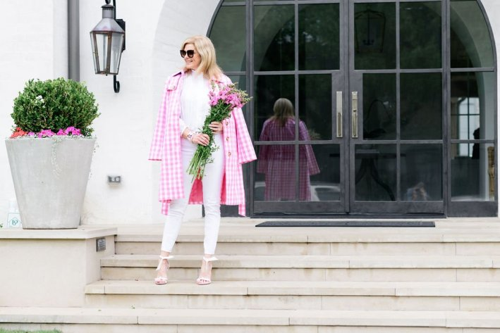 Tanya Foster in all white with talbots pink and white trench coat