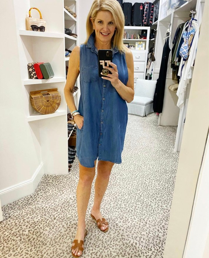 Tanya Foster in a button up chambray dress from Red Dress