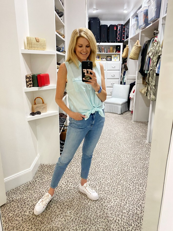 Tanya Foster in Chico's jeans and linen no iron tank