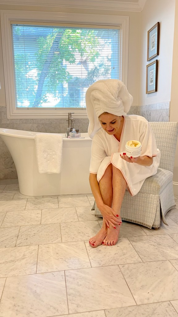 Tanya Foster using moisturizer
