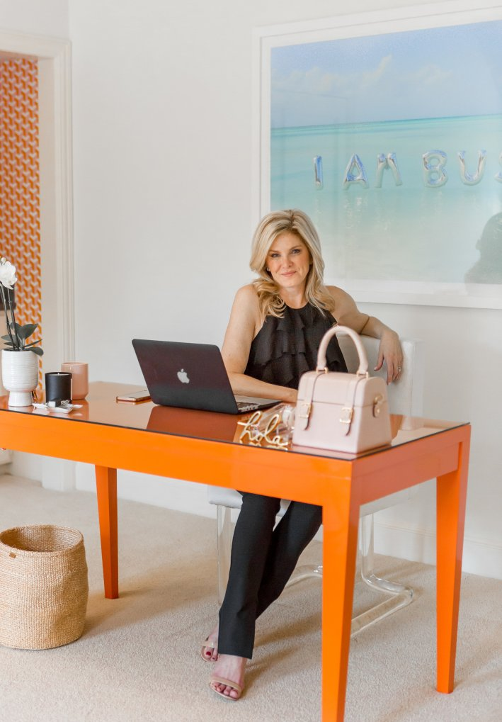 Tanya Foster reveals her home office make over with Amy Berry Designs featuring Scout Studio, Gray Malin and Krypton Fabrics.