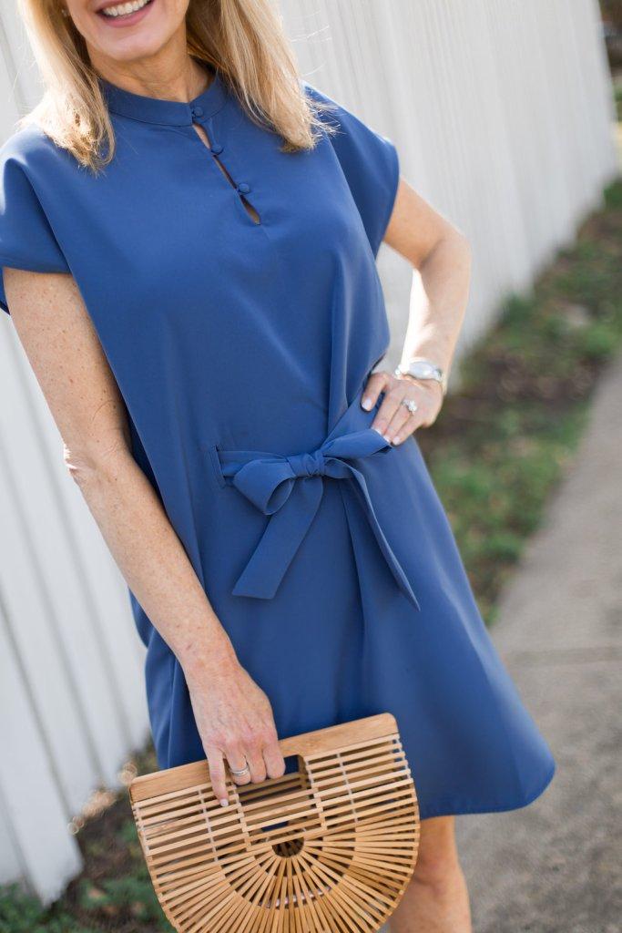 ruti dress, blue, ark bag, nude heel, sunglasses