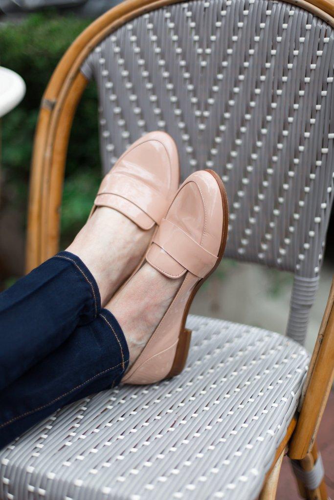 Maje top, Veronica Beard denim and Sezane loafers