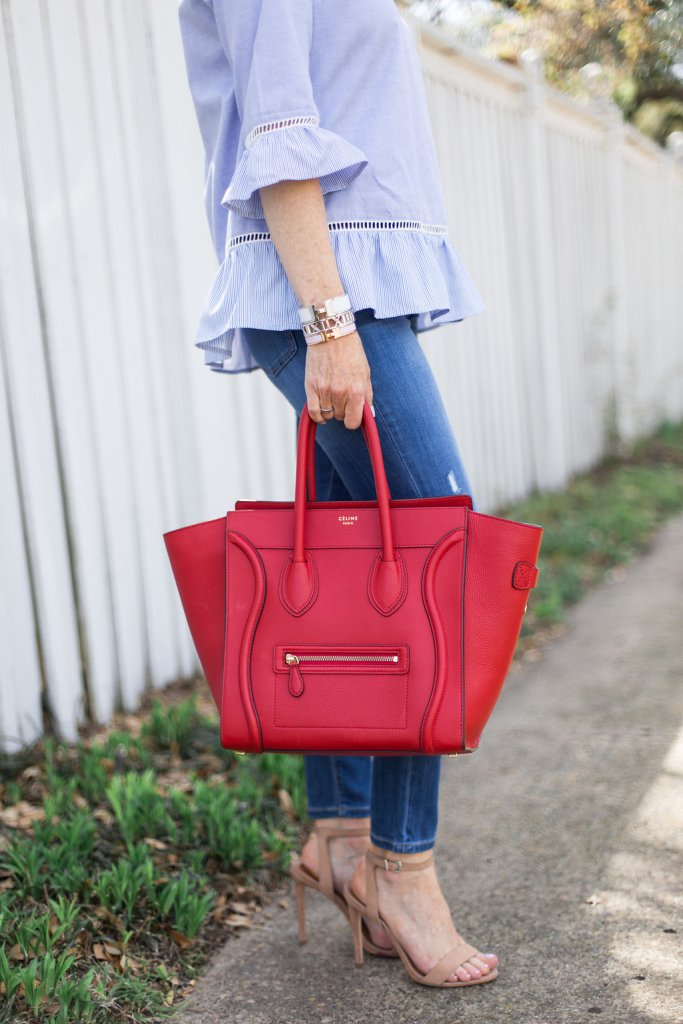 roots top, blue ruffle, stripe, distressed denim jean, nude heel, mirror sunglasses, red celine bag