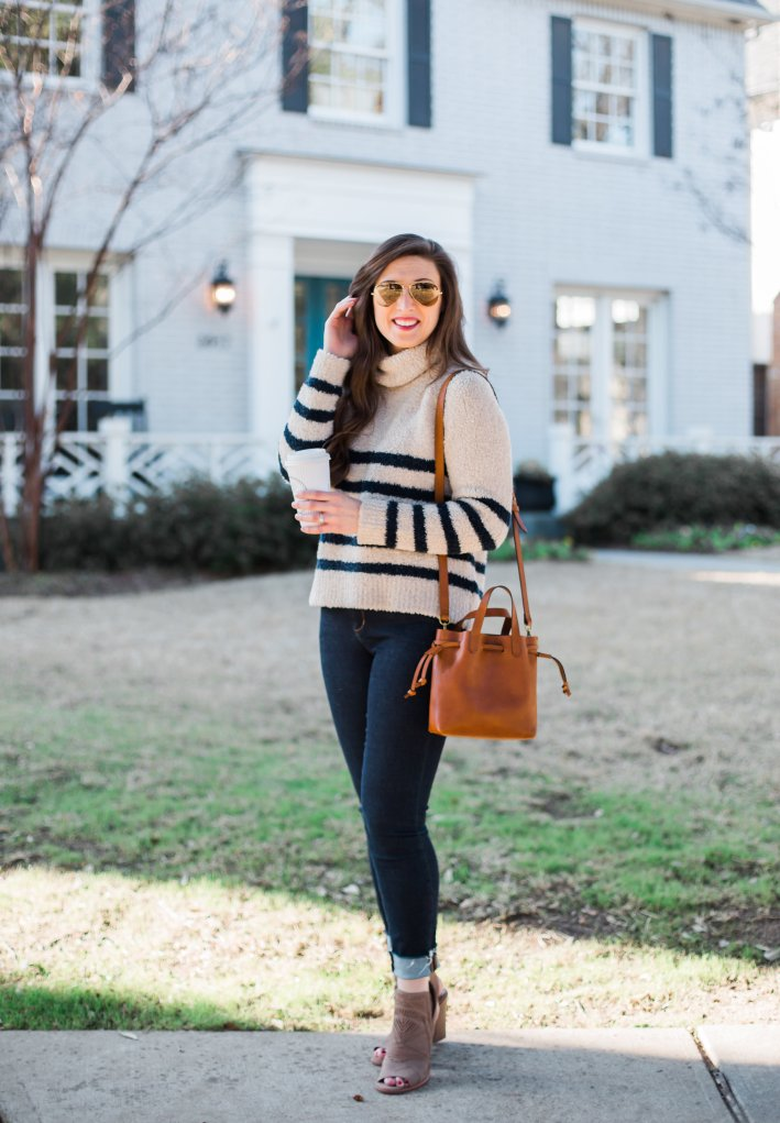 Madewell stripped sweater with jeans and open toe booties