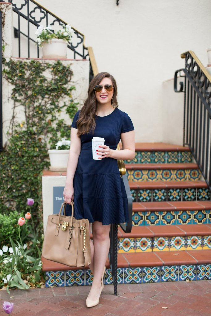Navy Eliza J Dress, Nude Heels, MK Bag, work wear