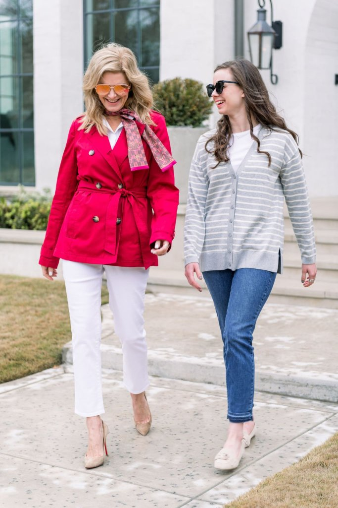 Tanya Foster and assistant walking together in Talbots spring fashion selections