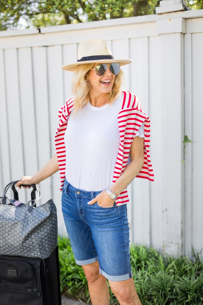 Paige denim shorts, white t-shirt with red and white sweater from H&M