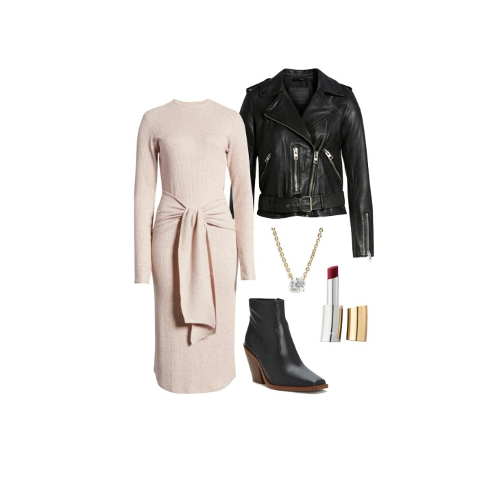 Nordstrom wrap rib sweater dress with leather jacket and accessoreis