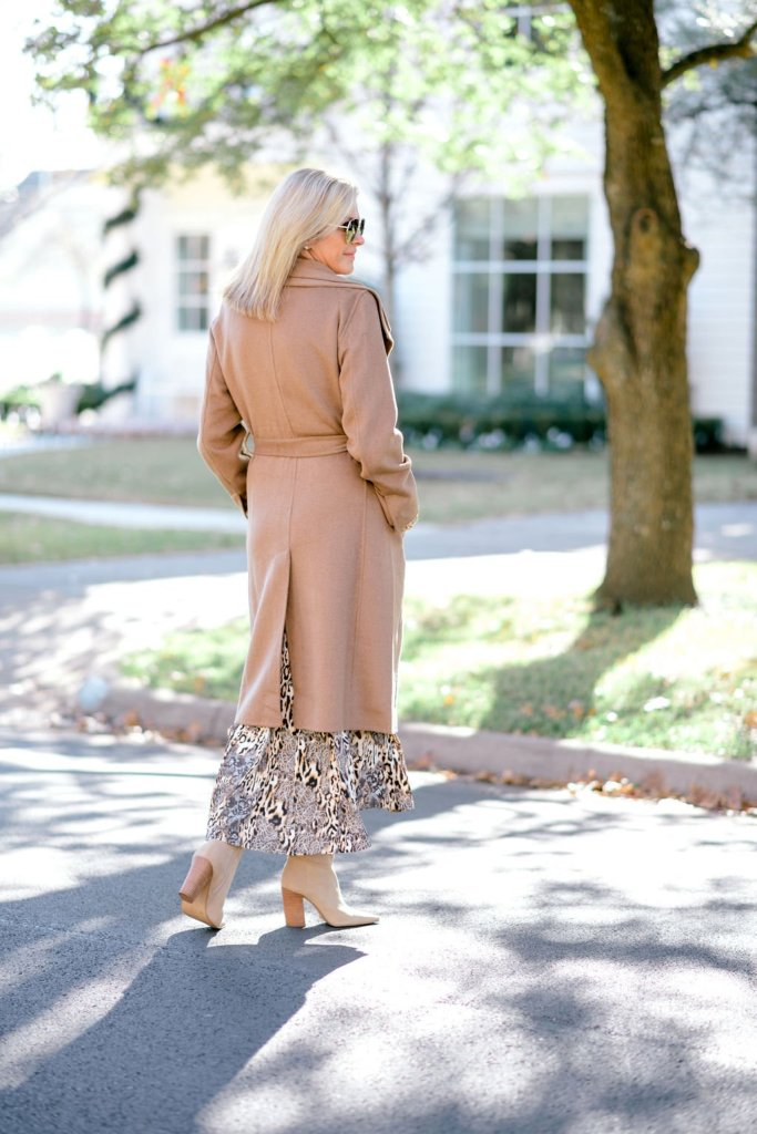 Tanya foster in chico's leopard lace print midi shirt dress and double collar wool-blend coat with boots