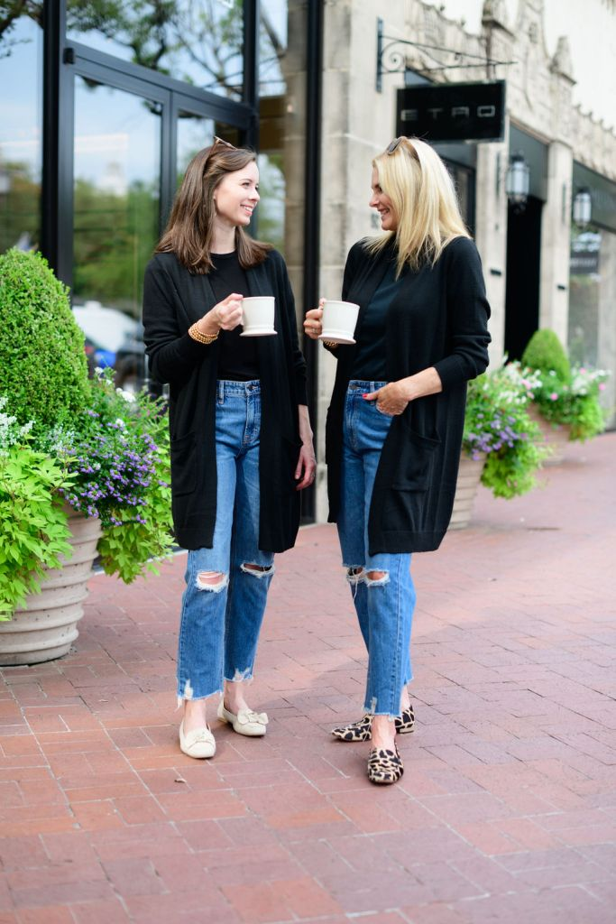 Tanya foster and assistant in matching avara jeans and cardigans