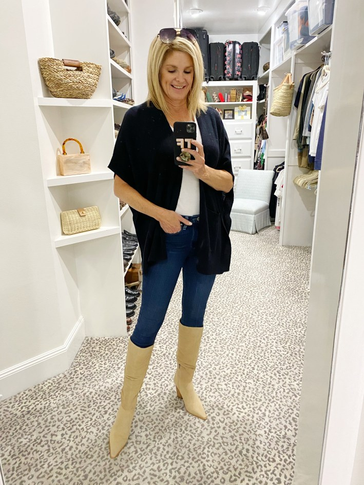 Tanya Foster in cashmere sweater white tee paige denim jeans and vince camuto knee high boots
