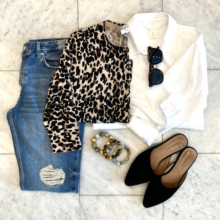 flat lay of H&M button up, denim, madewell mules, hazen & co bracelets tuckernuck sunglasses nordstrom animal print cardigan