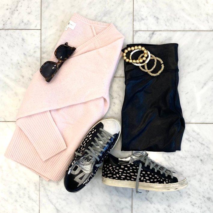 lou & grey pink sweater with p448 john low top sneakers spanx faux leather leggings tuckernuck sunglasses allie+bess bracelets hazen & co bracelets