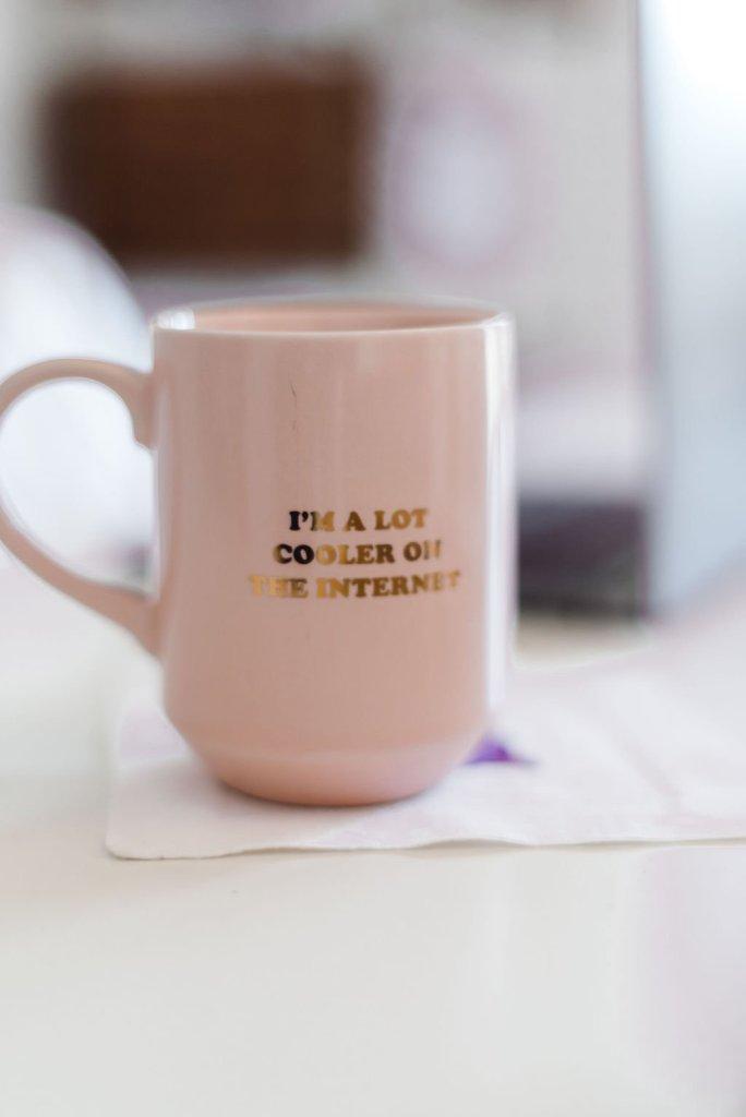 coffee mug I'm a lot cooler on the internet