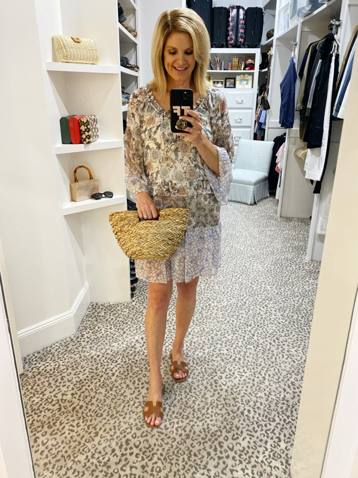 coming soon Tanya Foster in Hale Bob dress ODP basket bag and hermes oran sandals