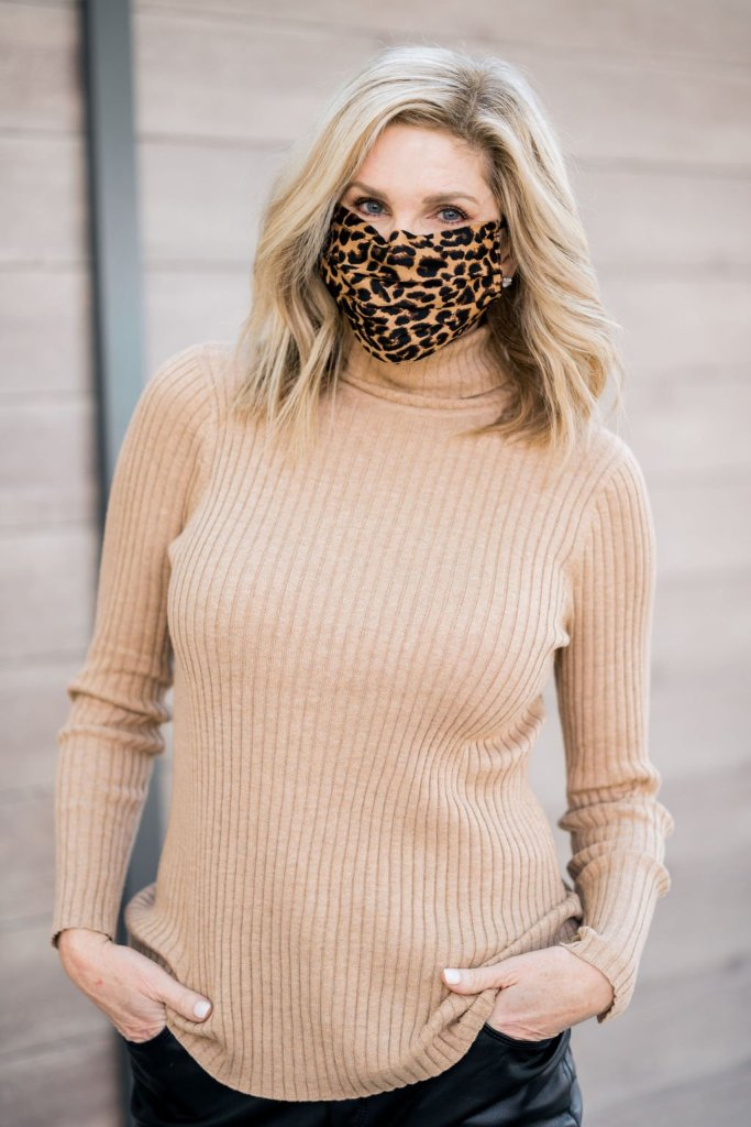 tanya foster wearing a chico's face mask and chico's ribbed turtleneck sweater