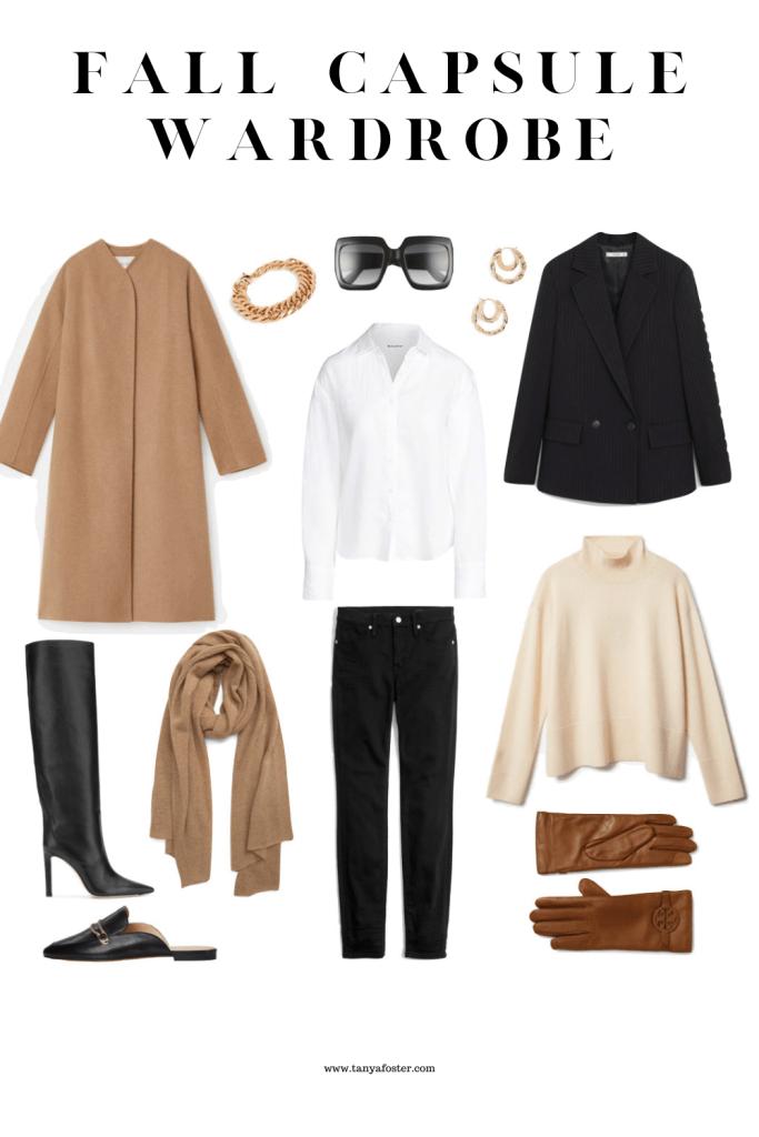 fall capsule wardrobe collage of fashion items