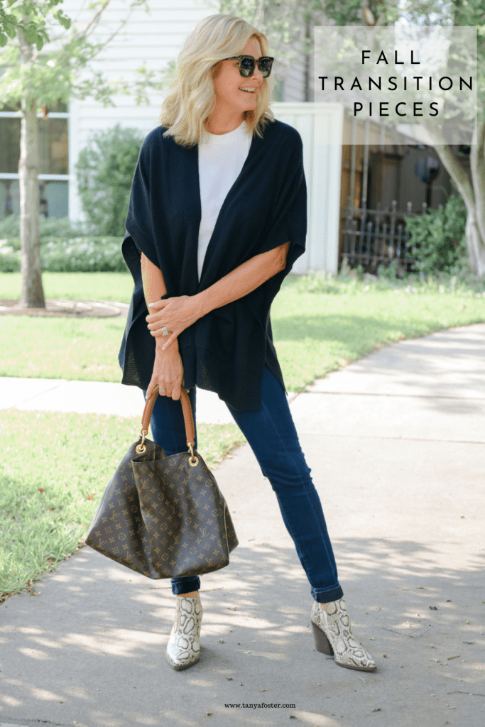 Tanya Foster in cashmere cardigan short sleeved sweater louis vuitton bag white tee and paige denim jeans
