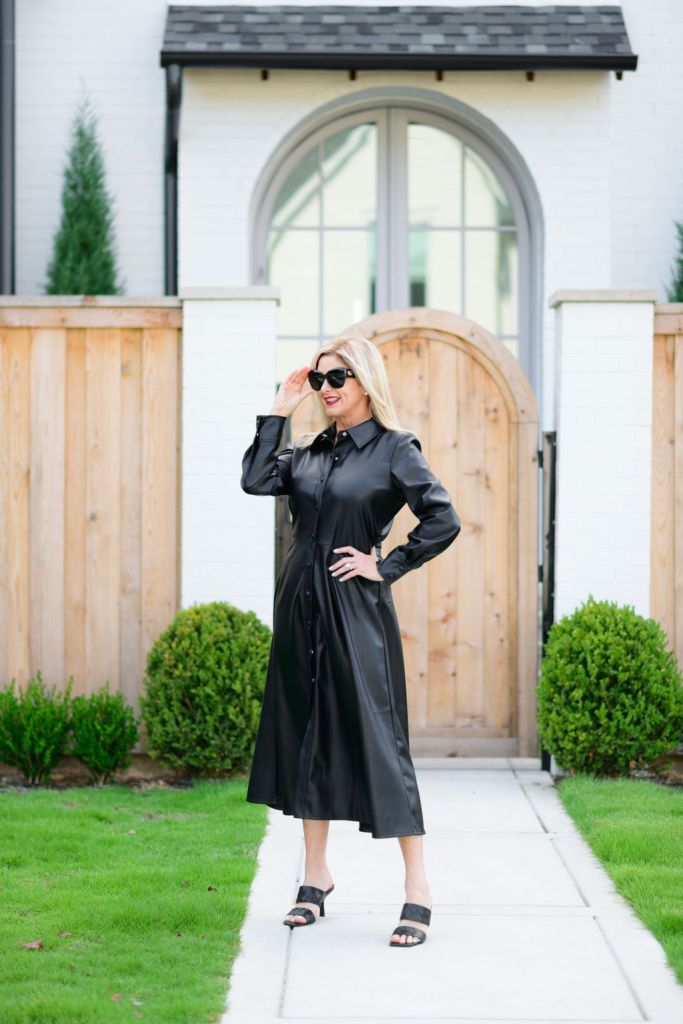 Tanya Foster wearing Halogen faux leather dress and Vince Camuto slide sandals