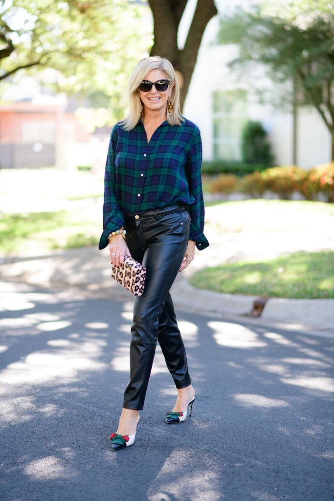 tanya foster in grayson flannel leather pants and gucci bow stilletos