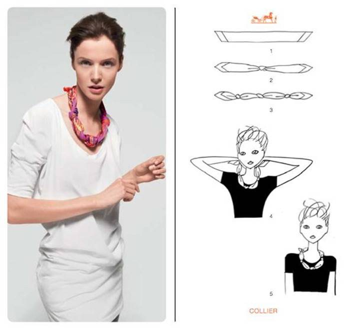 Hermes scarf tie tutorial - necklace