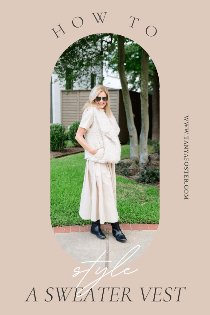 Tanya Foster wearing Staud dress with bb dakota teddy vest how to style a sweater vest