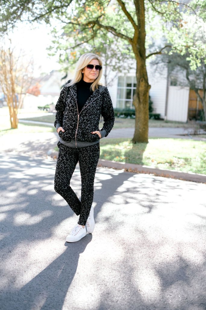 tanya foster in soma jet setter leopard hoodie and jogger