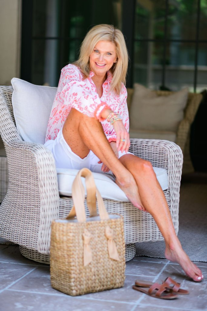Tanya foster in sail to sable blouse and talbots girlfriend denim jean shorts
